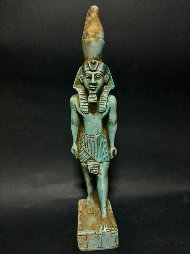 Rare Antiques Ancient Egyptian Blue Glazed Statue Pharaoh King Ramses ii 1279 BC #greekstatue