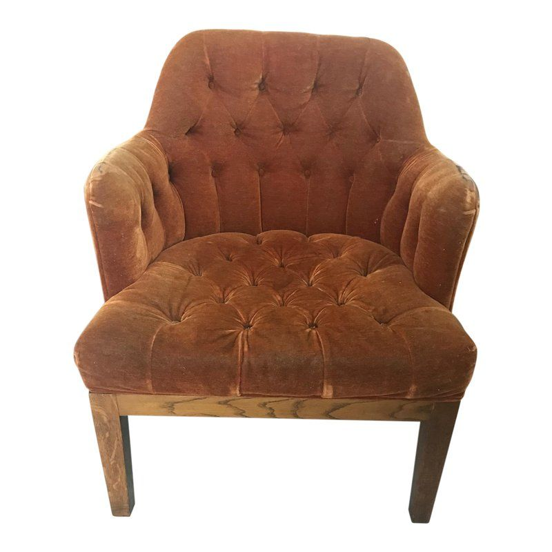 1970s Vintage Small Copper Velvet Armchair For Sale With Images