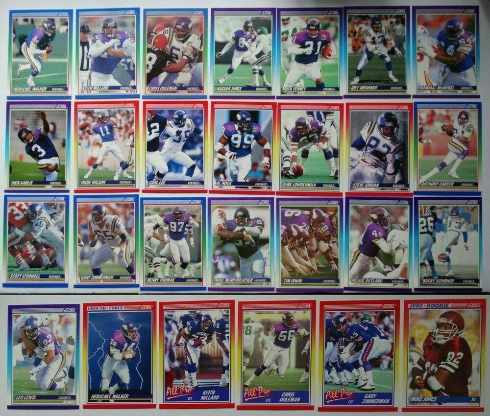 1990 score minnesota vikings team set of 27 football cards