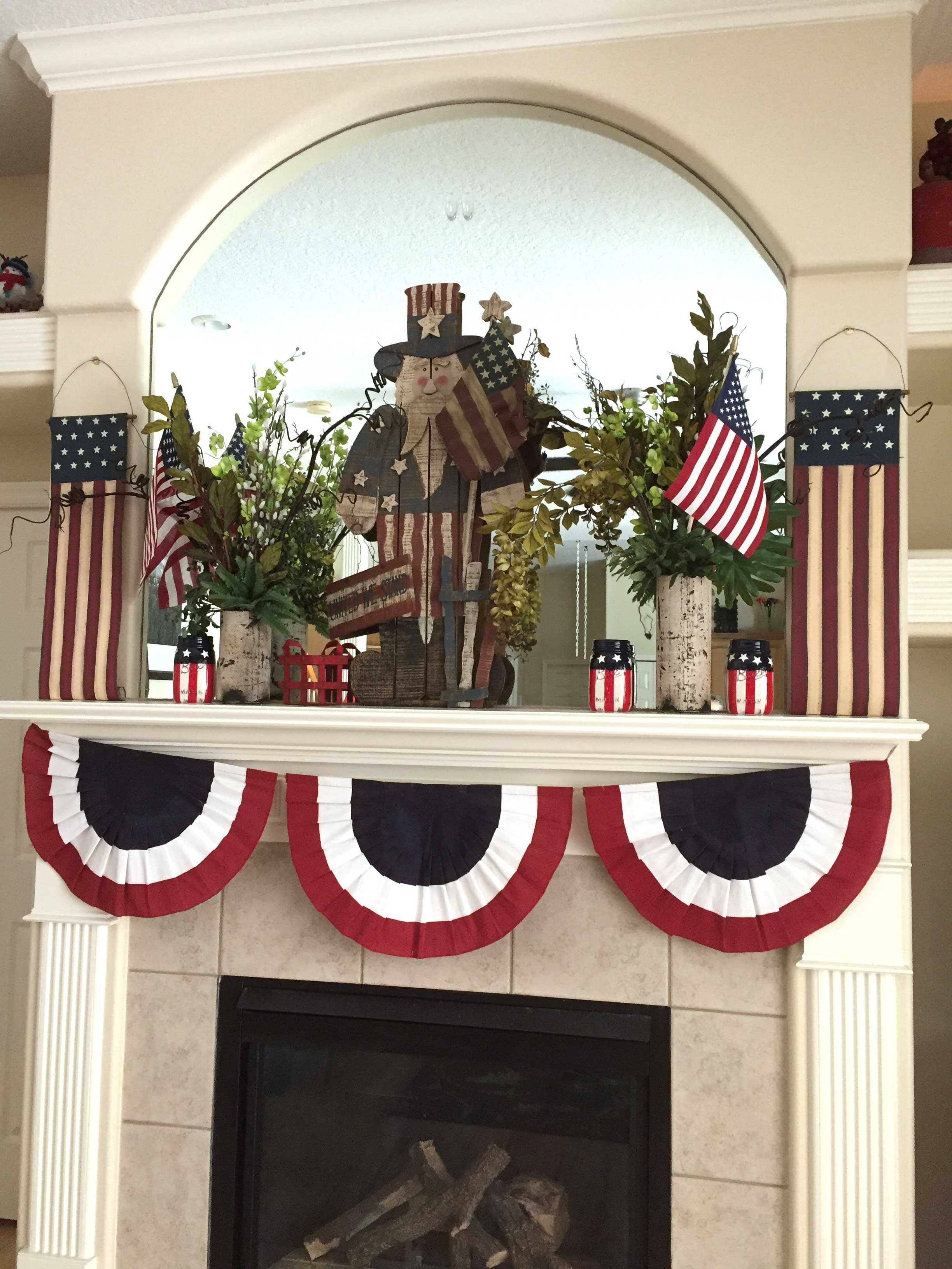 This is my 4th of July mantle this year! Got the Uncle Sam ...