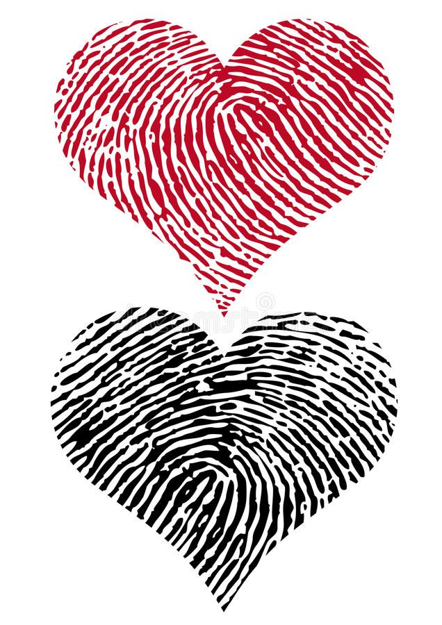 Two Fingerprint Hearts, Vector Stock Vector - Illustration of illustration, heart: 12693641