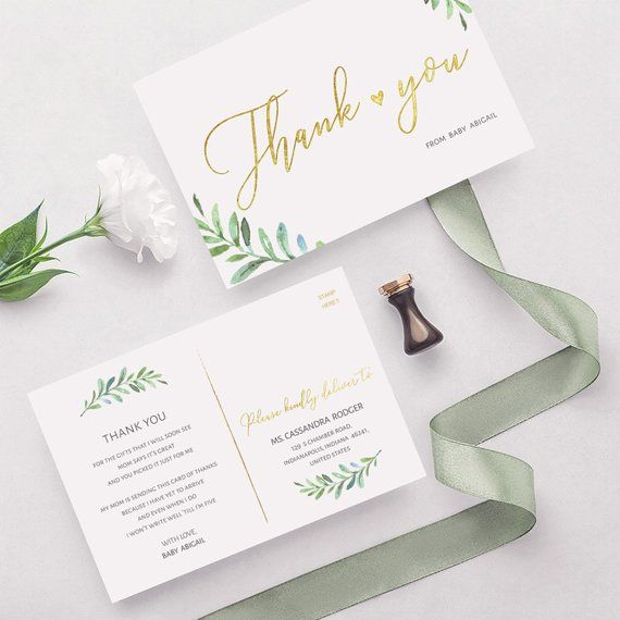 green thank you postcard template instant download gender neutral baby shower coed baby shower we