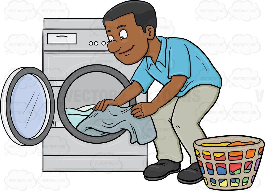 A black man taking out his washed linens from the washer # ...