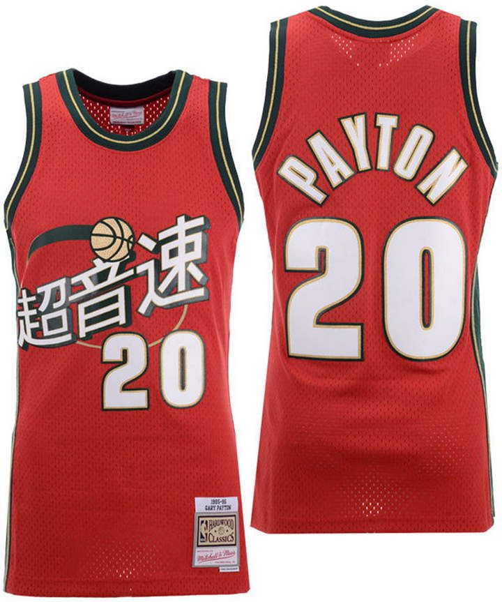 sale retailer d33bd bd6c0 Mitchell & Ness Men Gary Payton Seattle SuperSonics Chinese ...