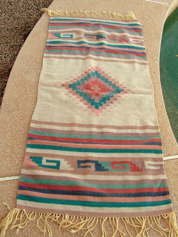 Vintage Zapotec Mexican Rug / Coral Teal Rug / Southwestern Indian Rug / 58  X 27