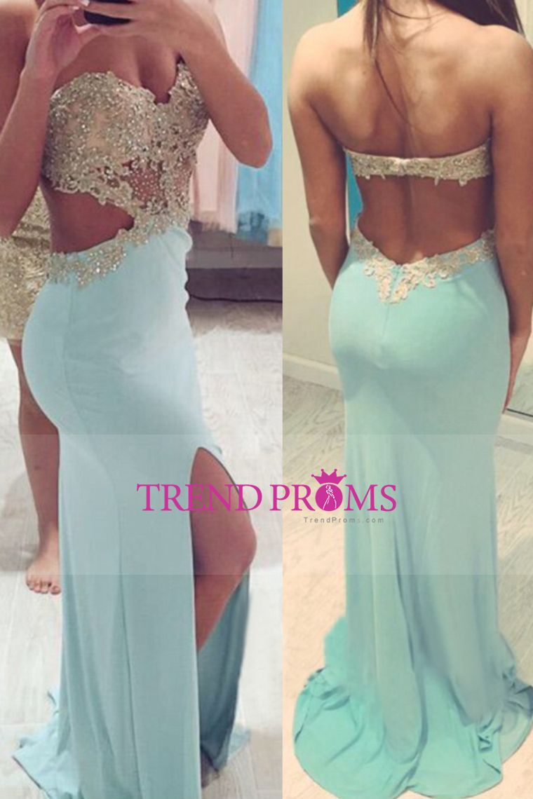 2016 Sexy Prom Dresses Sheath With Slit And Applique Sweep Train ...