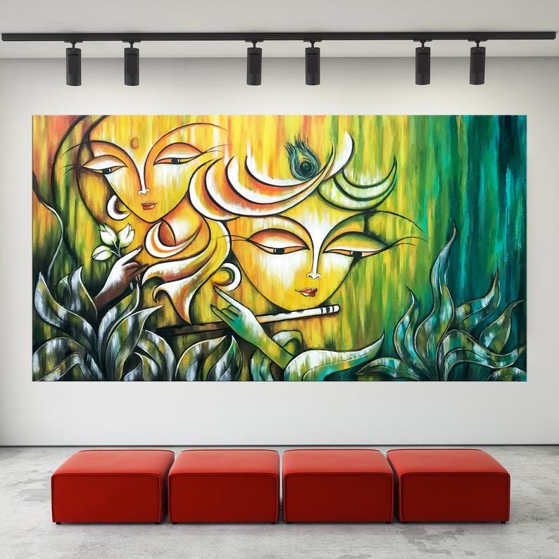 Radha Krishna Painting Indian Art Hindu God Modern India Etsy In 2020 Krishna Painting India Painting Indian Wall Art