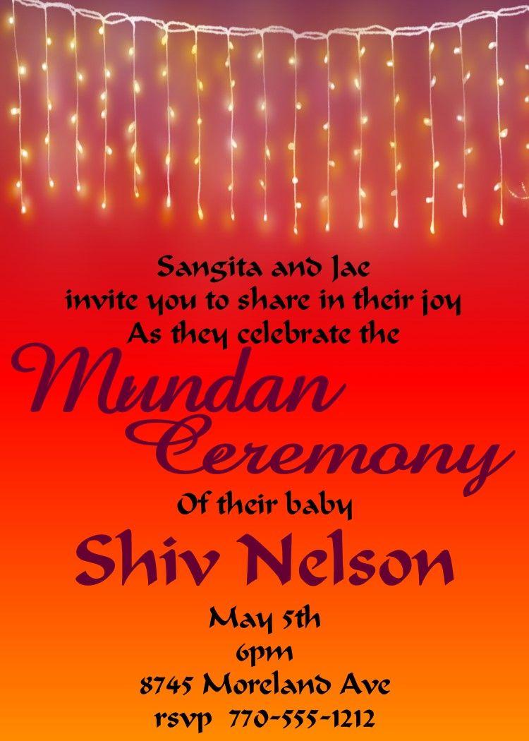 mundan lights invitations | mundan invitations | Pinterest | Party ...