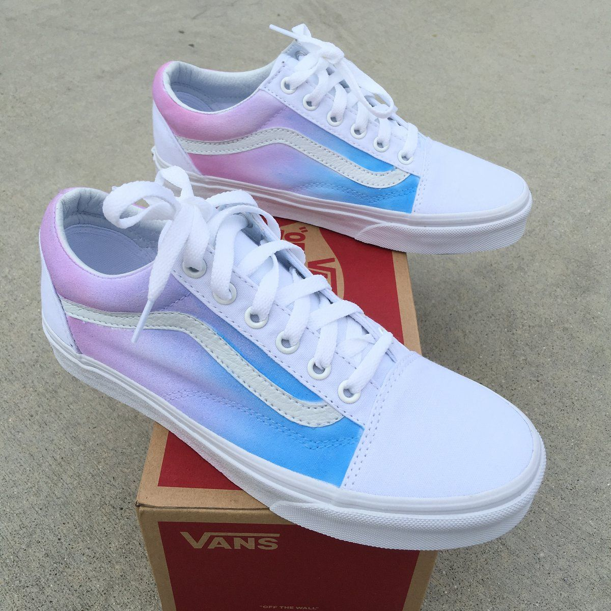 8f82a39f8 These True White Vans Old Skool Sneakers have been painted with a pastel  color ombre gradient on the sides of the shoes. The light blue color starts  towards ...