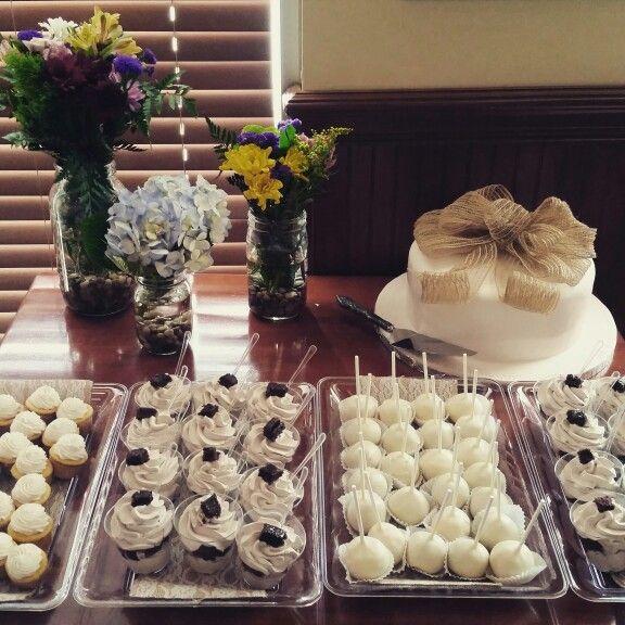 Burlap and Lace Baby Shower Dessert Table#cakepops#brownieparfaits#minicupcakes# fondantcake@DoughboycakesandDesserts