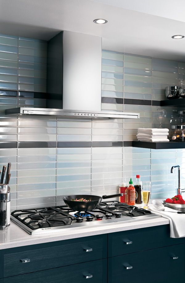 Another idea for backsplash with light blue glass tiles | Kitchen ...
