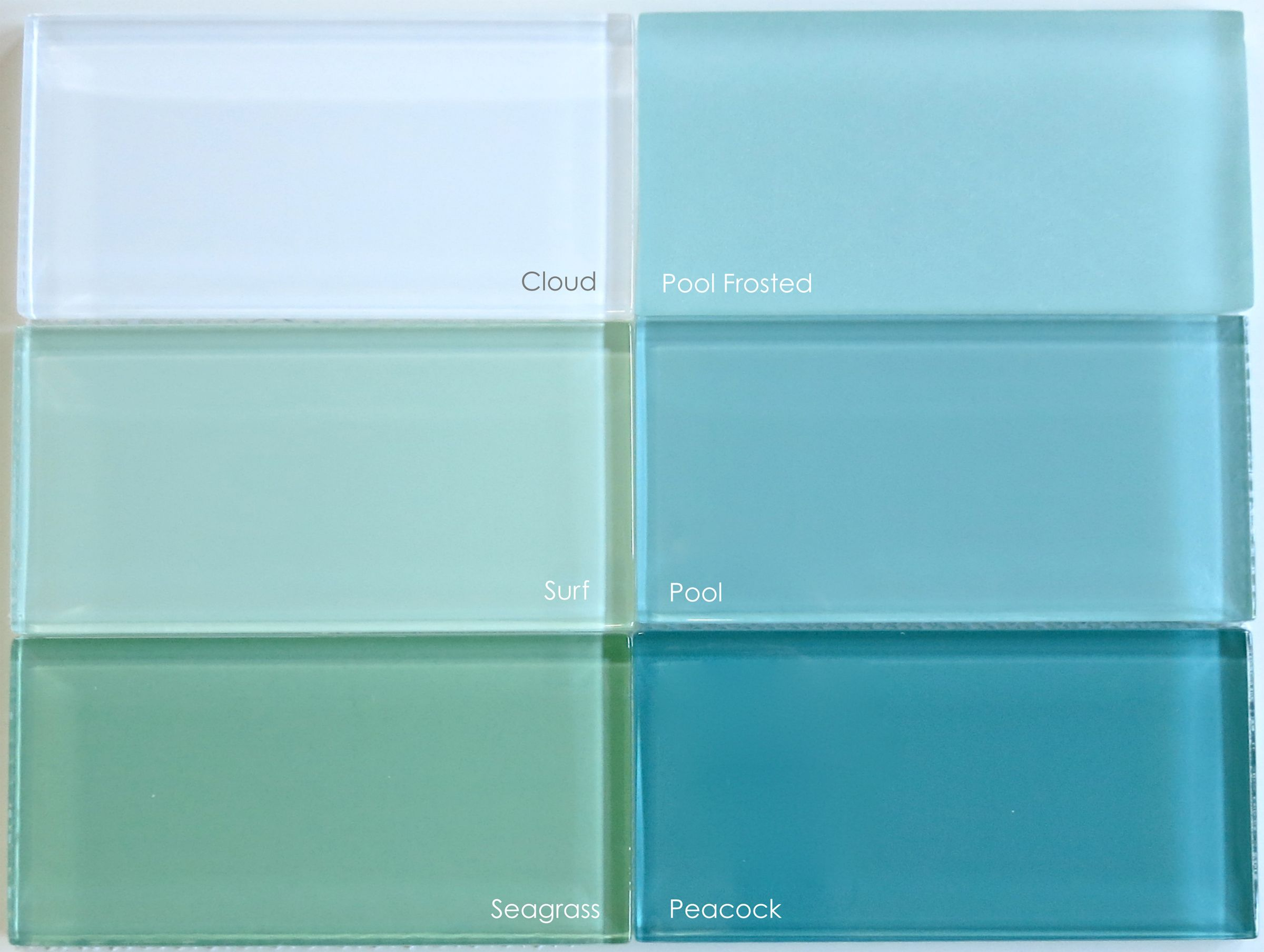 aquamarine glass tile iridescent for bathroom | One last look at all ...