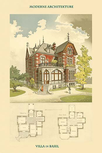 Villa in Basel Basle Switzerland by Jung Painting Print