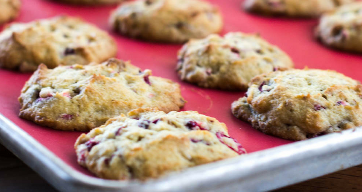 sugar free cranberry walnut cookies are a fruitcake type christmas cookie that is full of chopped