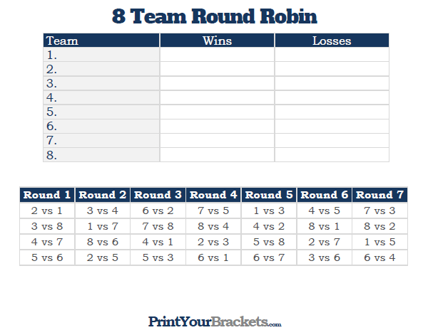Printable 8 Team Round Robin Tournament Bracket Team Schedule Kids Olympics Tournaments