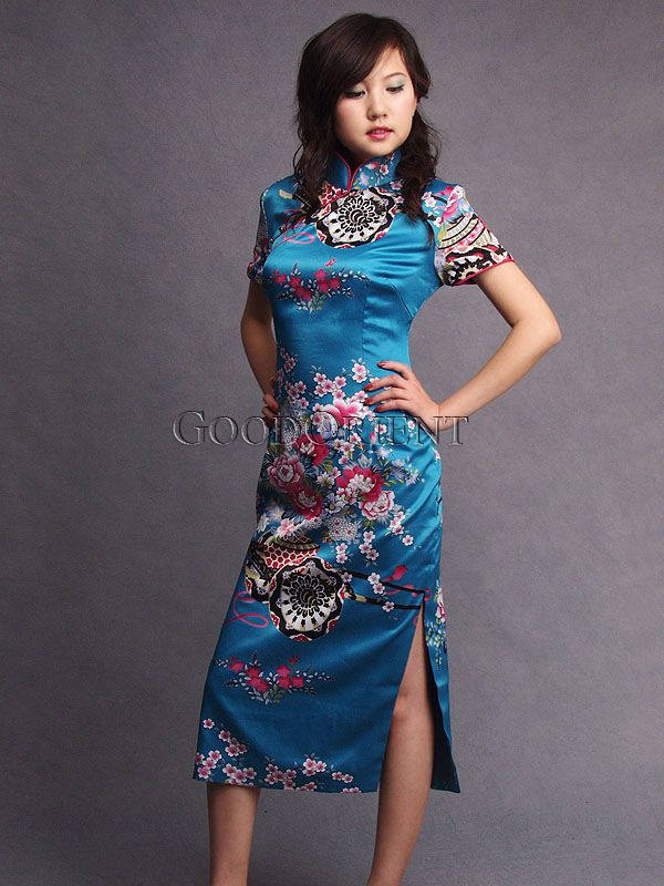 602238060 The Meaning of Cheongsam Colours – Blue | Asian Fusion Weddings. Teal Peony  Basket Silk Cheongsam Japanese Dresses, Chinese ...
