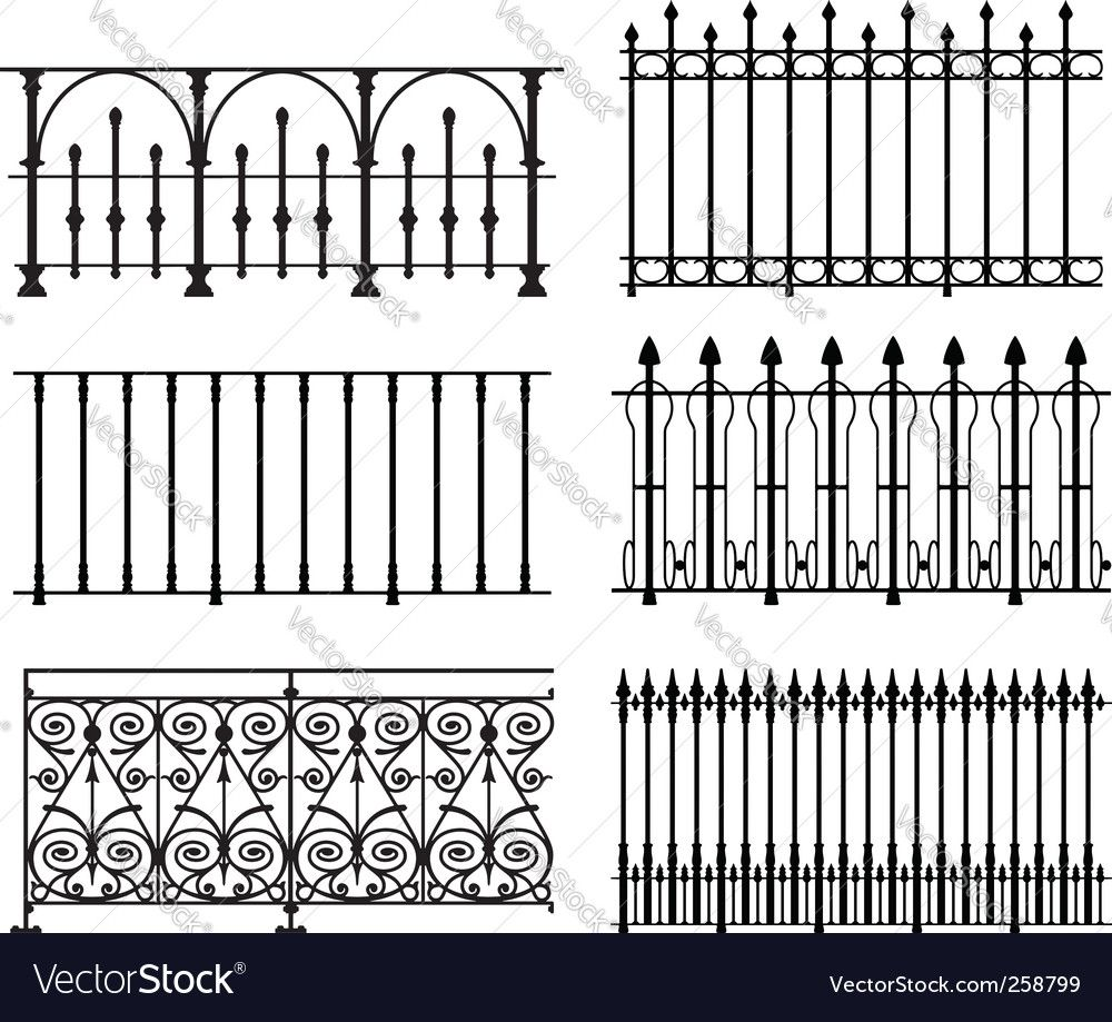 Railings And Fences Vector Image On With Images Iron Railing