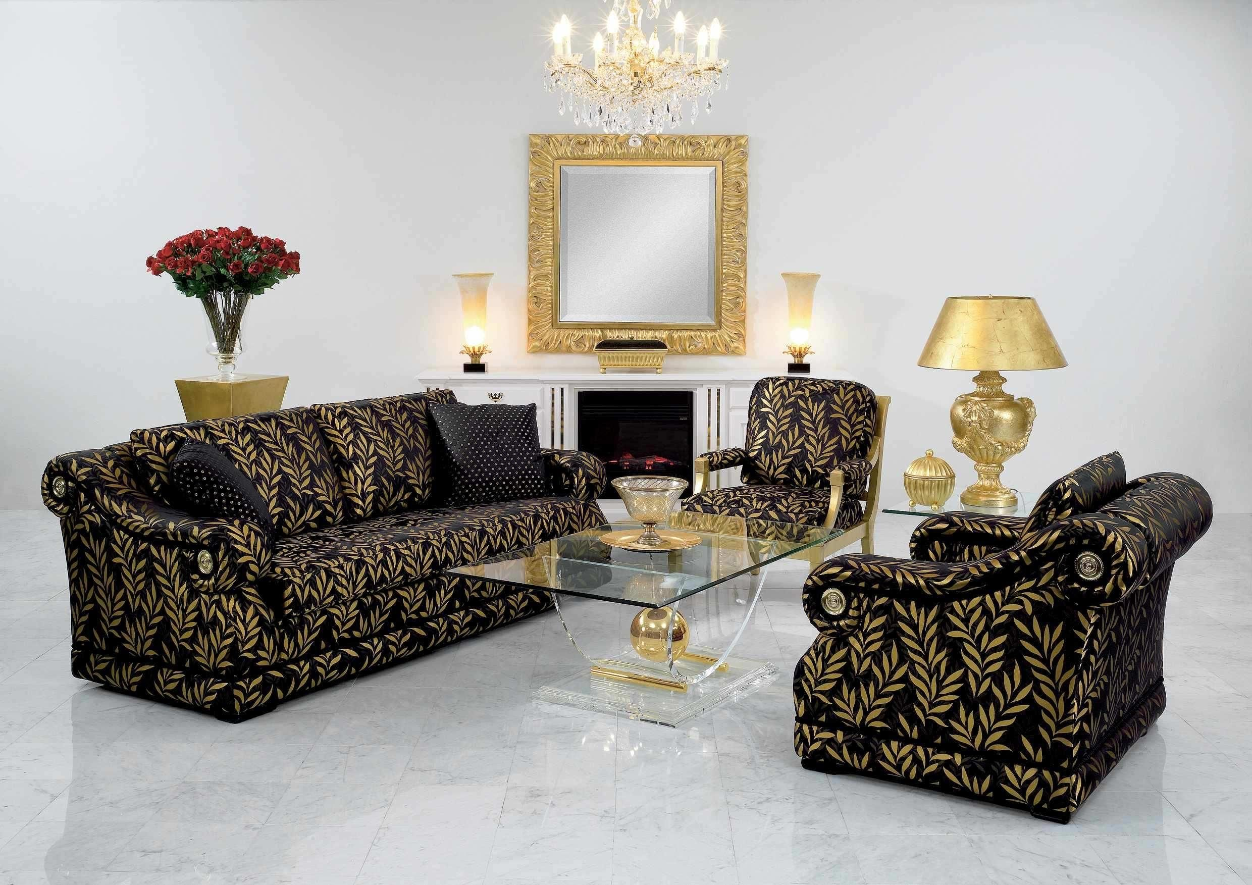 classy living room design with classic black yellow floral sofa