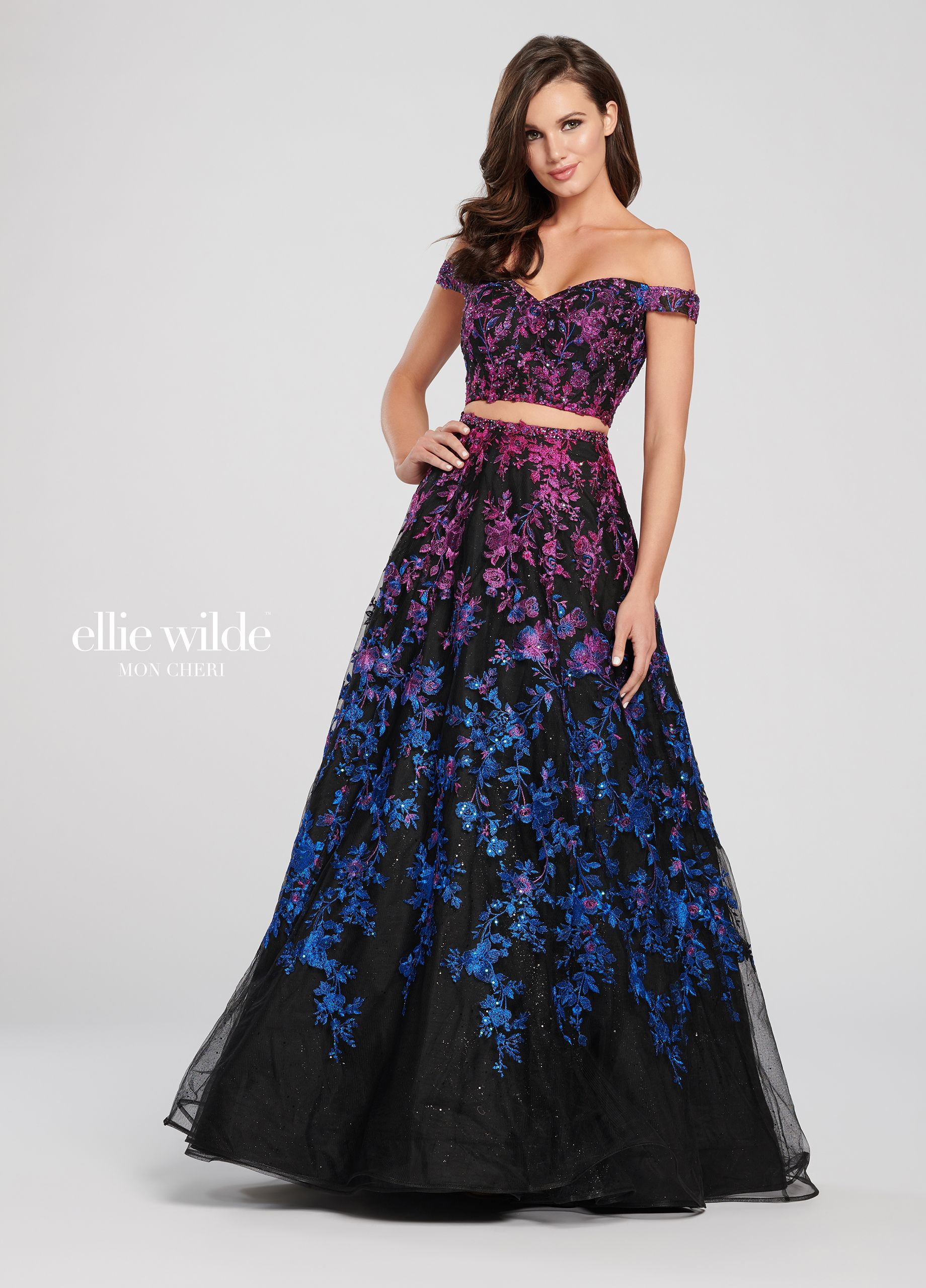 99870046ce5 2-Piece Embroidered Lace with Sequin Ombre Dress Set- EW119057 ...