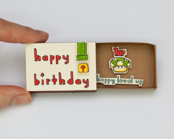 "Funny Birthday Super Mario / Geeky Card Matchbox/ Birthday Gift box/ ""Happy level up""/ BD023"