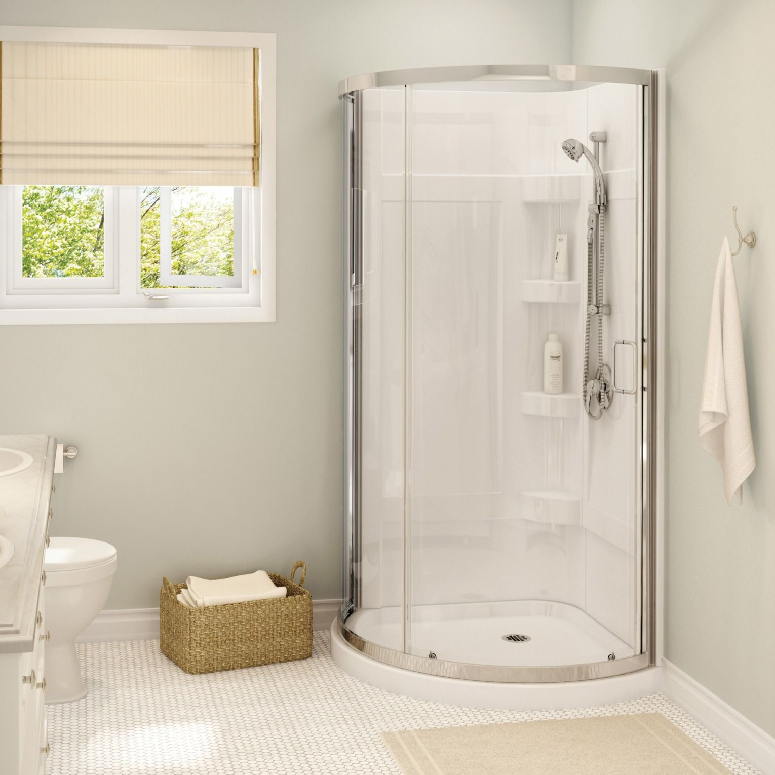 The Maax Cyrene Shower Kit Combines Simplicity And Elegance Featuring An Aluminum Chrome Frame And A Cle Corner Shower Kits Corner Shower Corner Shower Units