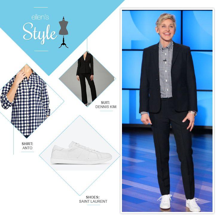 Ellen's Look of the Day: Black suit, plaid button up, white shoes