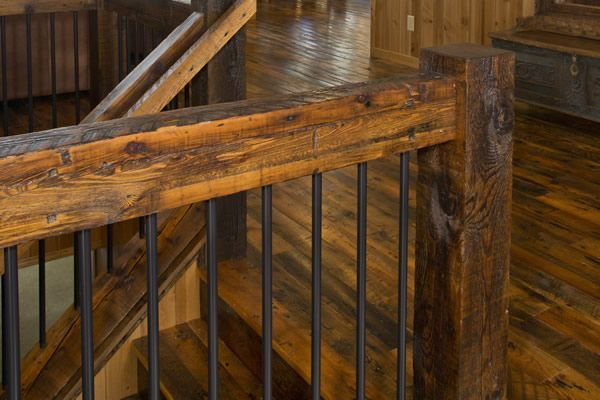 Quality Reclaimed Timber Railings Are The Perfect Accent To Your | Rustic Handrails For Stairs | Modern | Country Style | Antique Wooden Stair | Basement | Interior
