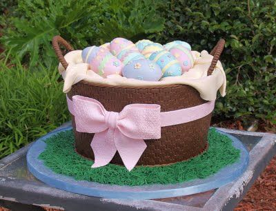 Admirable Easter Egg Basket Cake With Images Easter Basket Cake Easter Funny Birthday Cards Online Fluifree Goldxyz