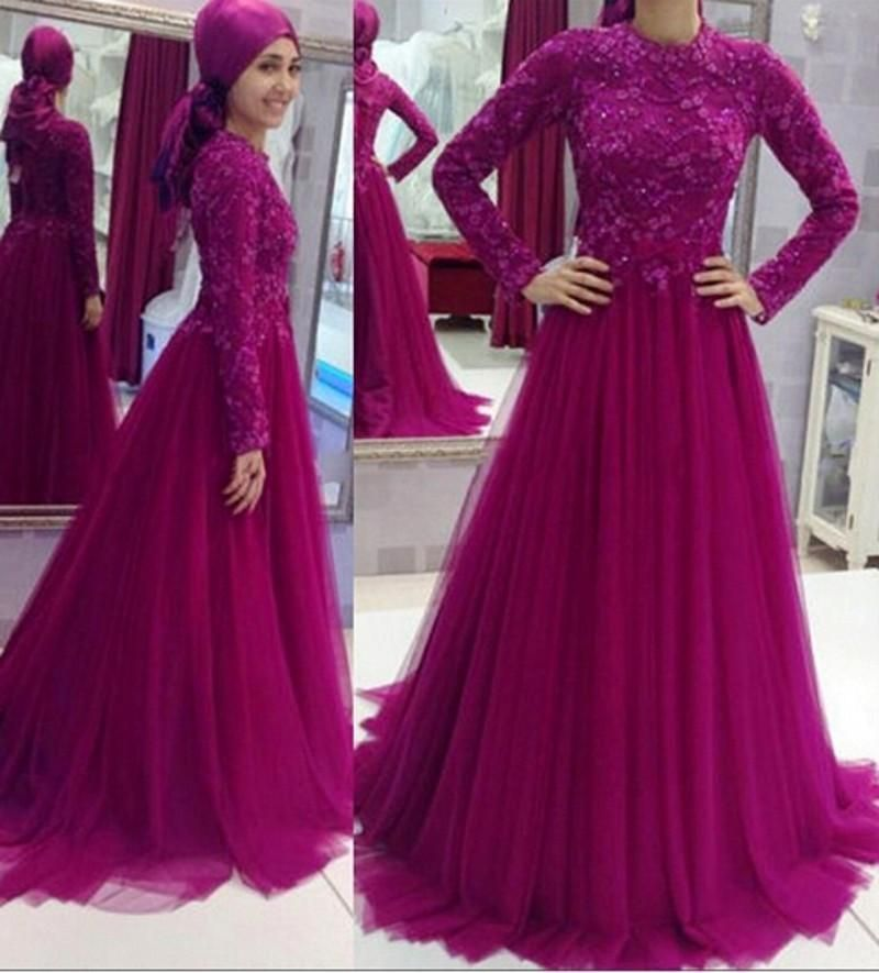 2018 Muslim Islamic Lace Long Prom dresses Appliques Crew Neck Floor ...