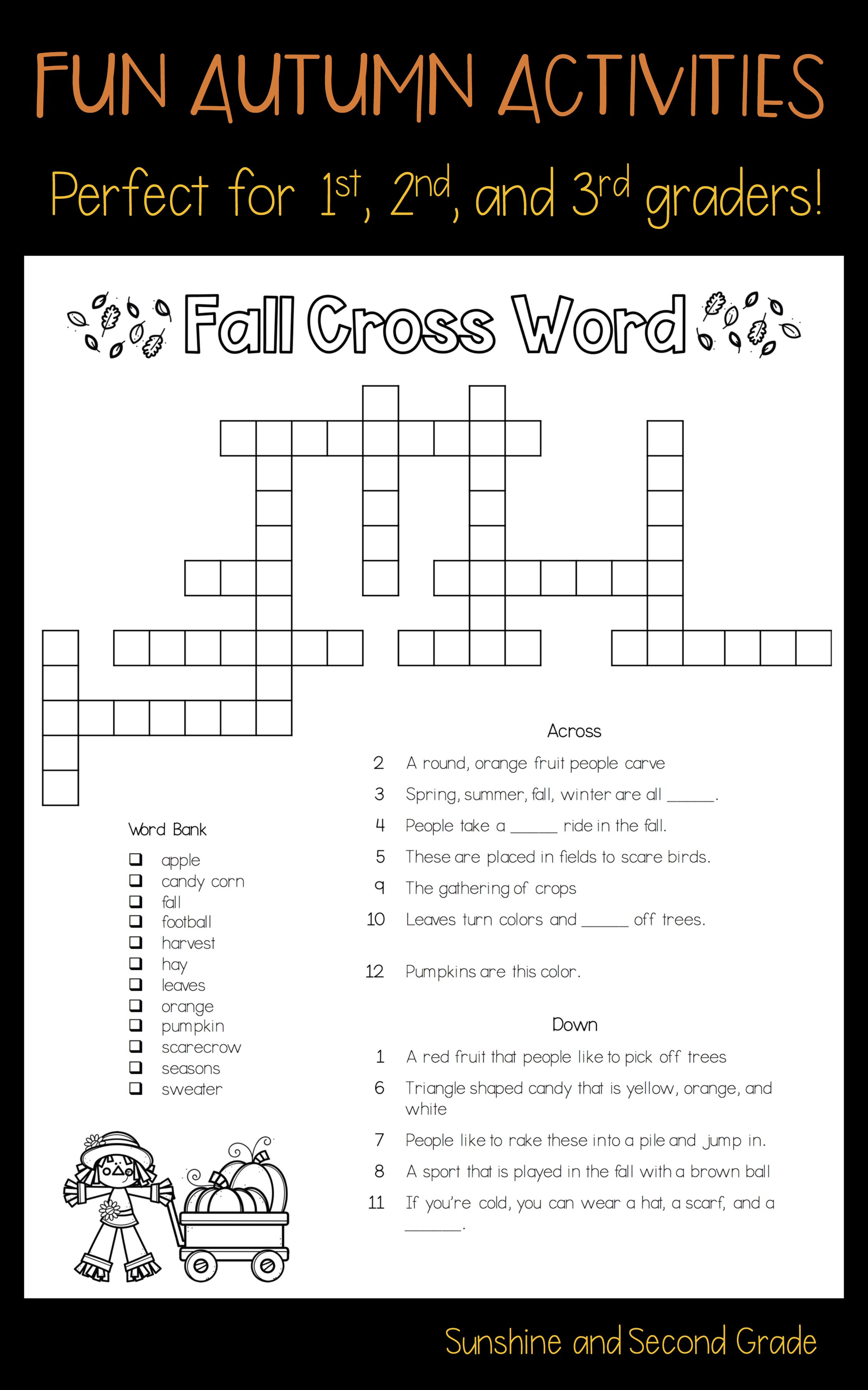Fall Into Learning Seasonal Crossword Puzzle Freebie