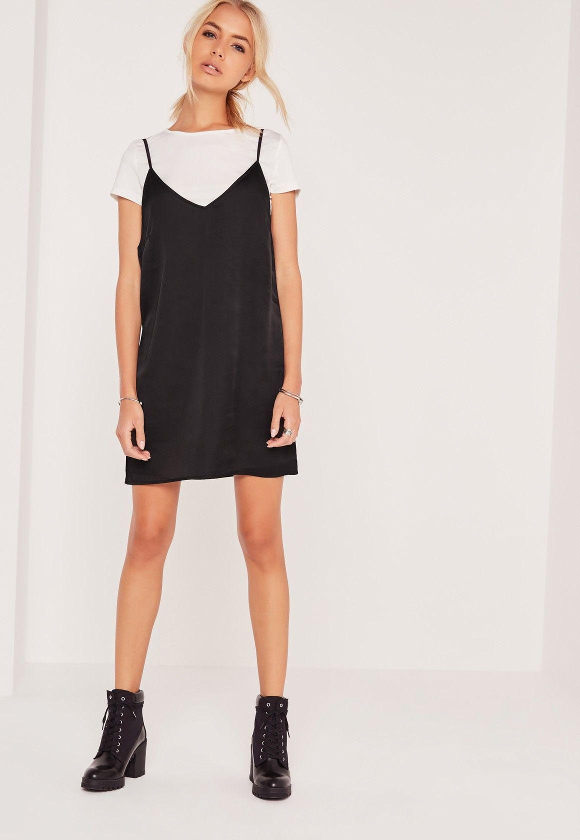 Missguided Satin 2 In 1 Dress Black Black Cami Dress Casual Dress Outfits Shirt Under Dress [ 1680 x 1160 Pixel ]