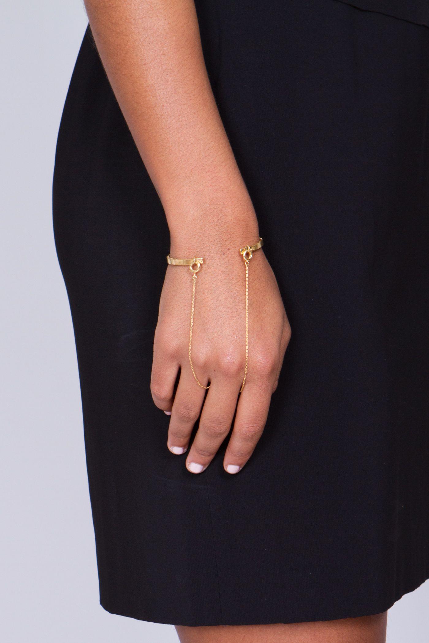 Slized Bracelet \'Wrist to Finger\'︱Gold Plated Brass︱By designer ...