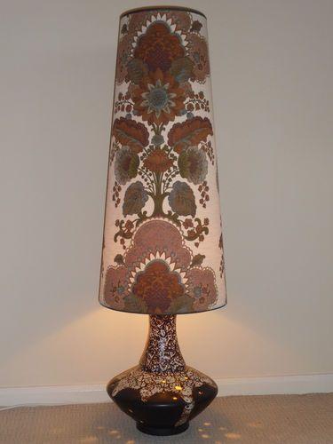West German Fat Lava Floor Lamp Original Shade 70s RETRO