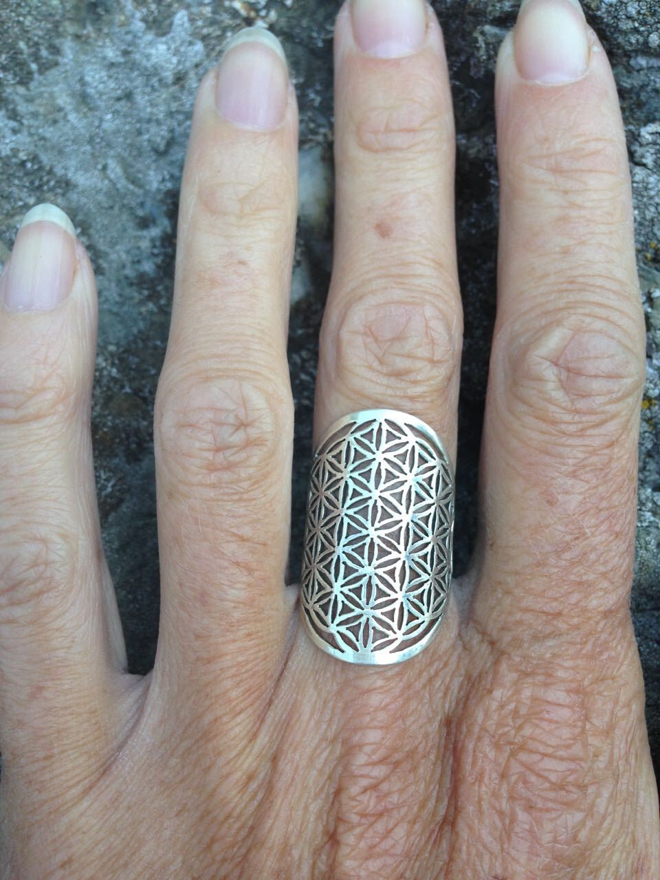 Flower of Life Purple and silver Ring purple ring Sacred Geometry ring Metal Smith ring silver sterling handMade ring Kabbalah Ring