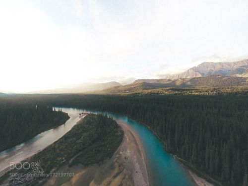 Canada. by seablom19  yellow trees canada landscape sunset water river travel blue clouds green 500px outdoors drone Canad