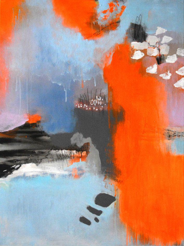 peinture abstraite sur toile  art abstrait  peinture acrylique orange fluo  mur d u2019art moderne
