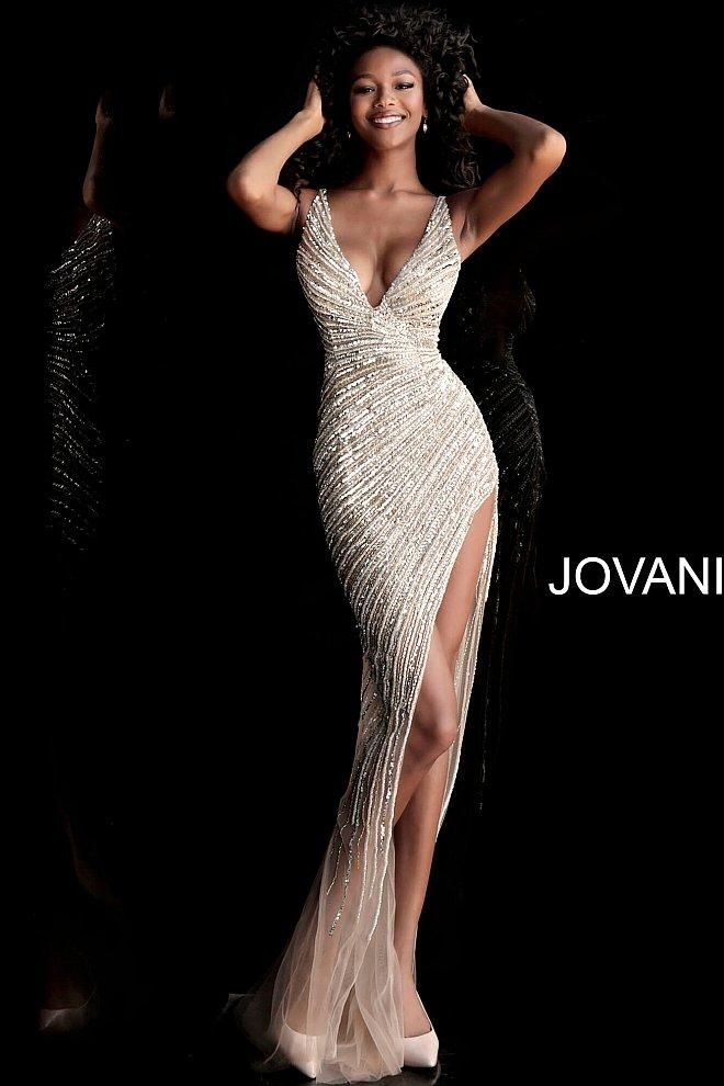 88eb6ae1b66c14 Jovani 63405 gold and silver fully beaded long pageant and prom dress - Mia  Bella Couture