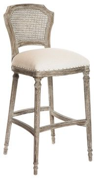 Camilla French Country Washed Taupe Linen Bar Stools Set Of 2