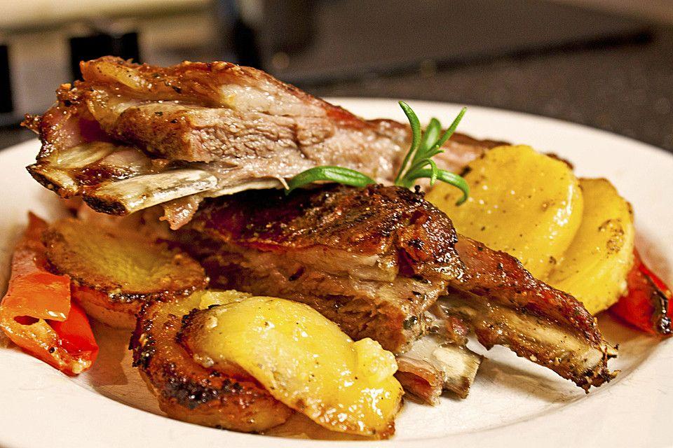 Lammrippchen mit Kartoffeln im Ofen #kartoffelnofen