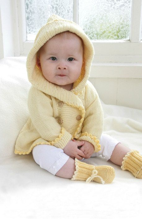 Baby Girl Knit Coat and Booties Set Sizes from Newborn