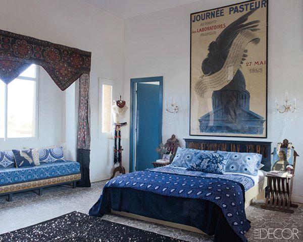 maryam montague indigo moroccan bedroom in elle decor