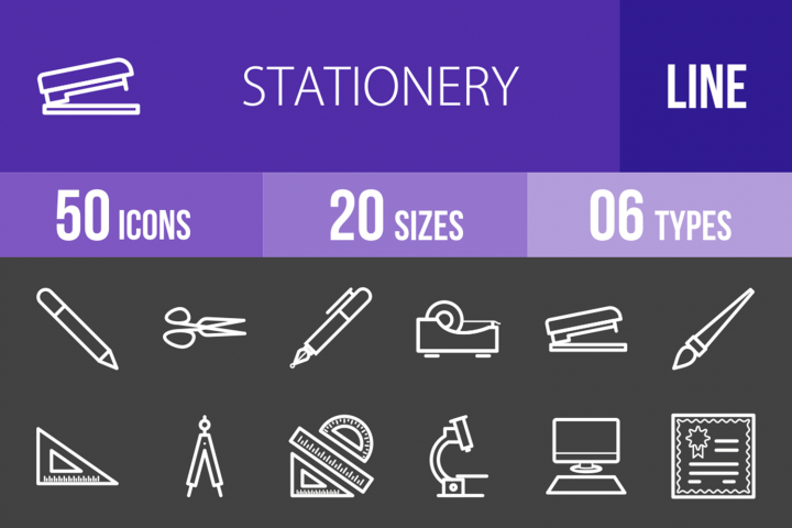 50 Stationery Line Inverted Icons Pen icon, Templates