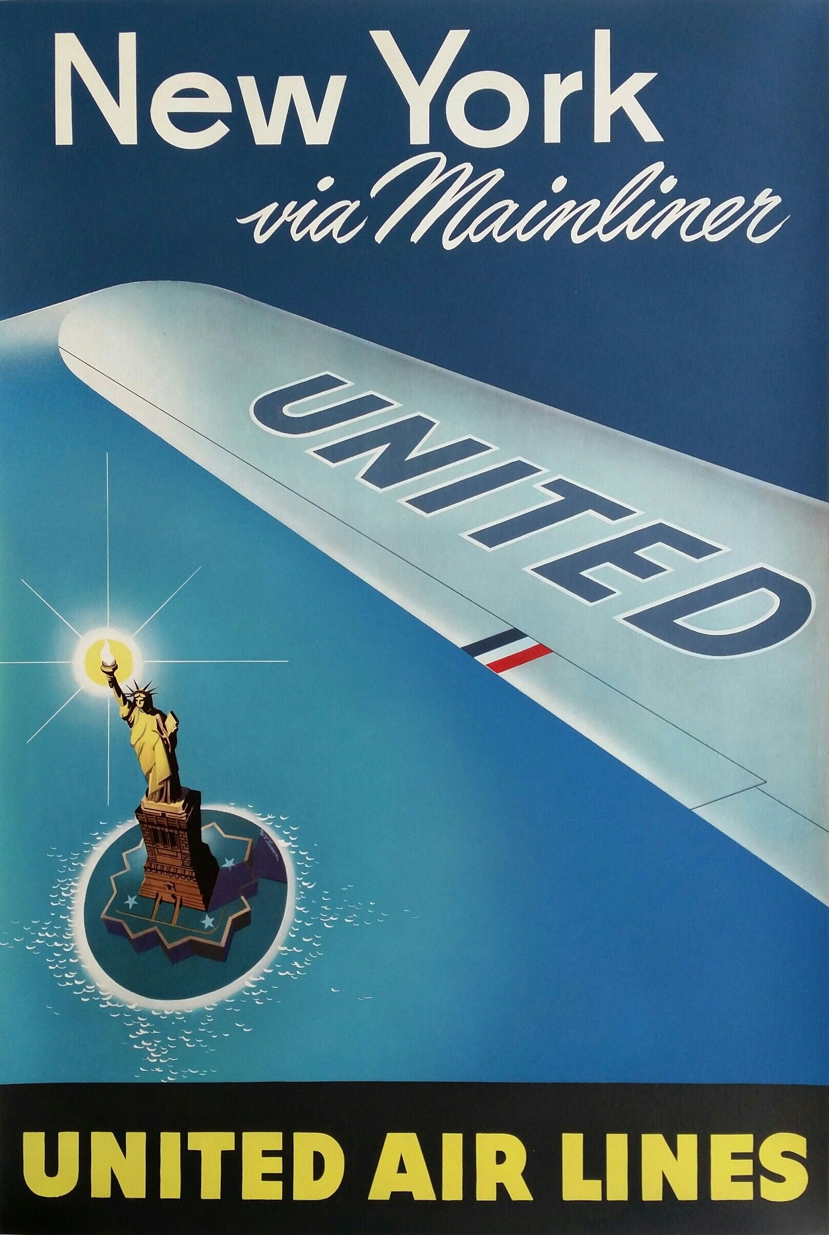 original vintage poster united airlines new york via mainliner affiche passion vintage. Black Bedroom Furniture Sets. Home Design Ideas