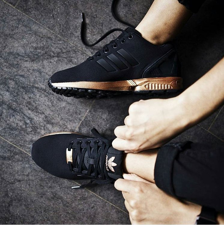 Adidas ZX Flux Core Black/ Light copper | Black adidas shoes ...