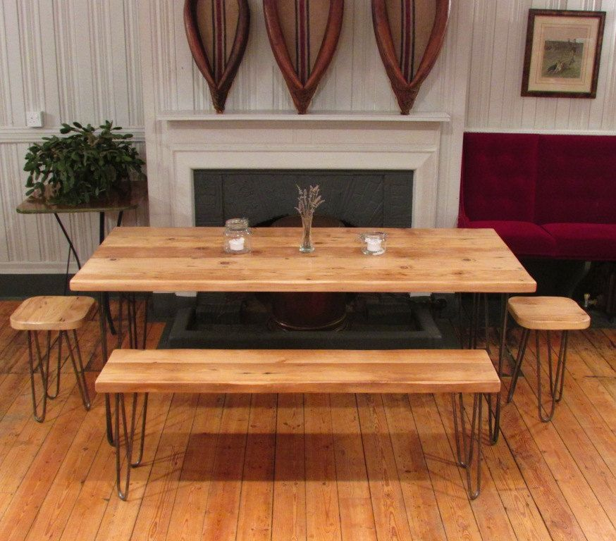 Bespoke Dining Table Bench And Stool Set Made With Reclaimed Vintage Wood Eames Era Hairpin Legs Vintgage Industrial