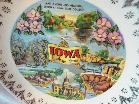 Vintage IOWA Souvenir Plate JAPAN
