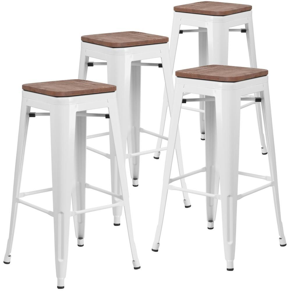 Carnegy Avenue 30 In White Bar Stool 4 Pack Cga Ch 250692 Wh Hd The Home Depot Bar Stools Metal Bar Stools White Bar Stools