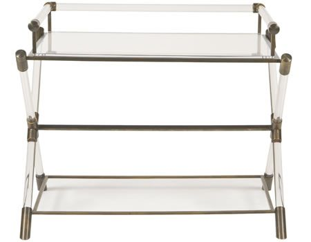 Lucite Bar Table Clear Lucite Components, Legs And Top. Medium Oxidized  Bronze Metal Details
