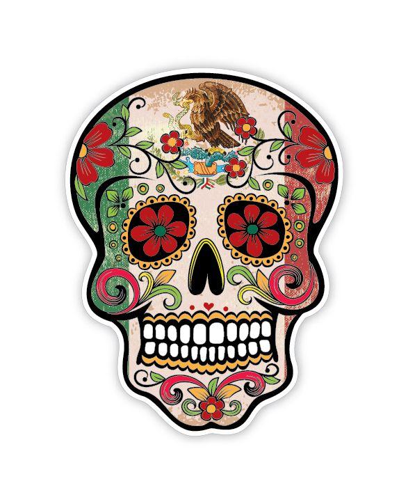 Grunge Flag Detailed Mexican Sugar Skull Sticker Series 10