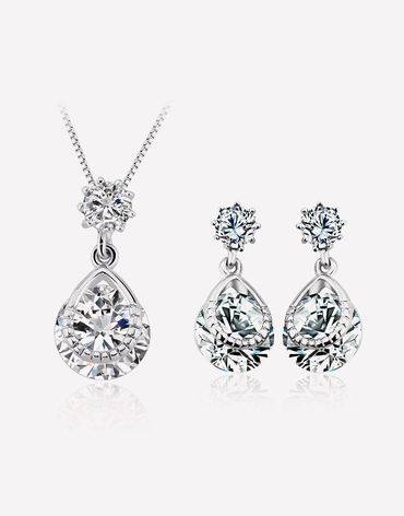3bada7389a Purple Tear Drop Crystal Jewelry Set | Oflara - Crystal Jewelry ...